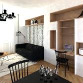 studio29, byt pro dva na vinohradech, obyvak